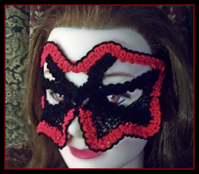 Red and Black mask in Goth, Steampunk style, created by using Romanian Point Lace technique...
