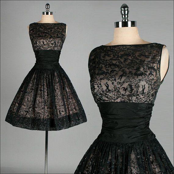 Vintage 1950s Dress  Black Sheer Mesh  by millstreetvintage