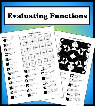 Evaluating Functions Color Worksheet Worksheets, Algebra