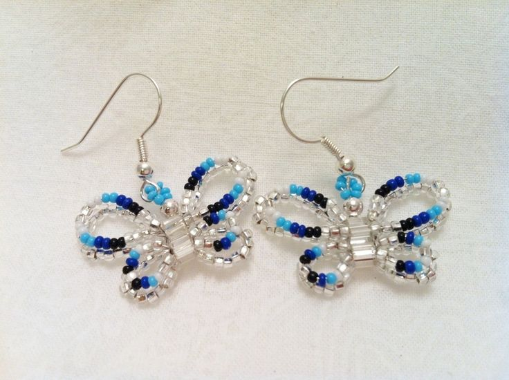 Beaded Butterfly Earrigns ∙ Creation by Pam ^_^ on Cut Out + Keep