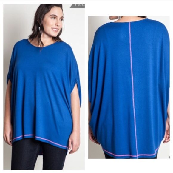"Blue batwing top (XL 1x 2x) Blue batwing top  Length- approx 32""  Materials- 65% cotton/ 35% polyester. This is a pretty thick top and it is extremely versatile. It can be dressed up or dressed down. Runs slightly large.  NWOT. Brand new without tags.  Availability- XL•1x•2x • 3•2•1 PLEASE do not purchase this listing. Price is firm unless bundled. No trades 3L2 Boutique Tops"