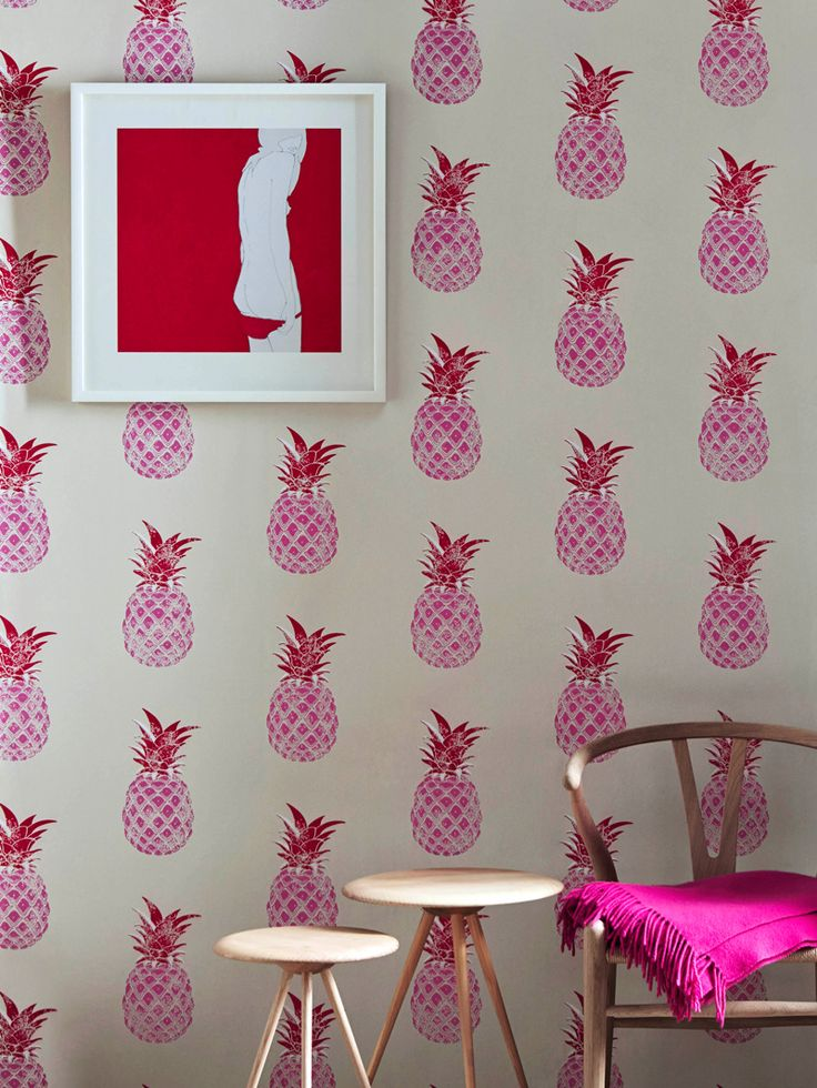 Pineapple Wallpaper - Red & Pink