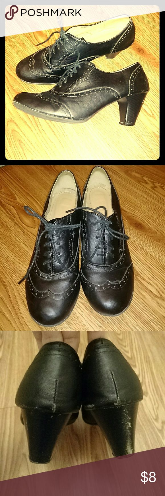 Refresh Amany Cuban heel oxford booties-black These stylish Oxford heels bring a vintage vibe to any outfit! In good condition aside from scuffing on the heels. Refresh Shoes Ankle Boots & Booties