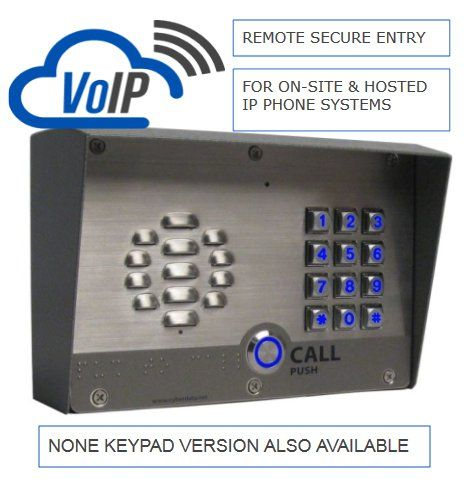 The CyberData V3 outdoor intercom. As its an IP device it runs over the Ethernet. This image is the keypad version. You can also purchase as just a call button option. Works great with hosted voip platforms.
