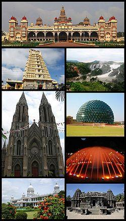 Clockwise from top: Mysore Palace, Shivanasamudra Falls, Infosys Building, Brindavan Gardens Musical Fountain, Chennakesava Temple, Lalitha Mahal, St. Philomena's Church and Chamundeshwari Temple.