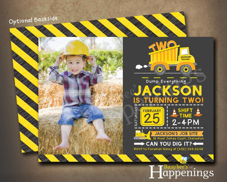 Construction Birthday Invitation Construction Birthday Party Construction Birthday Invite Dump Truck Invite Digital File Busybee Happenings by BusyBeesHappenings on Etsy