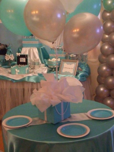 Themed decor at a Tiffany's party! See more party ideas at CatchMyParty.com! #partyideas #tiffanys