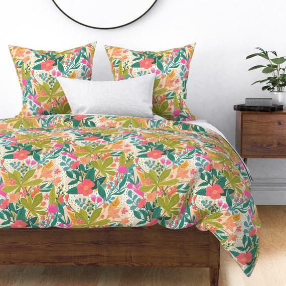 Bohemian Duvet Cover Bohemian Garden By Jacquelinehurd Etsy In 2021 Duvet Covers Floral Duvet Cover Duvet Covers Bohemian
