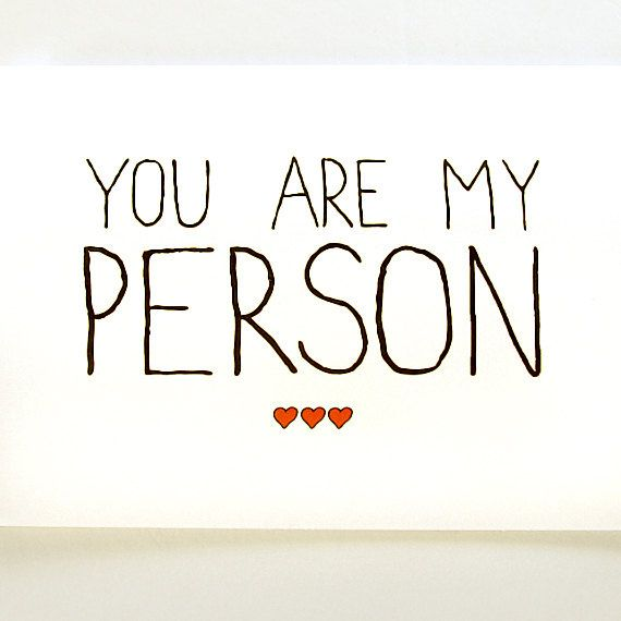 Anniversary Card. You Are My Person. Black with Red Hearts.. $4.00, via Etsy.