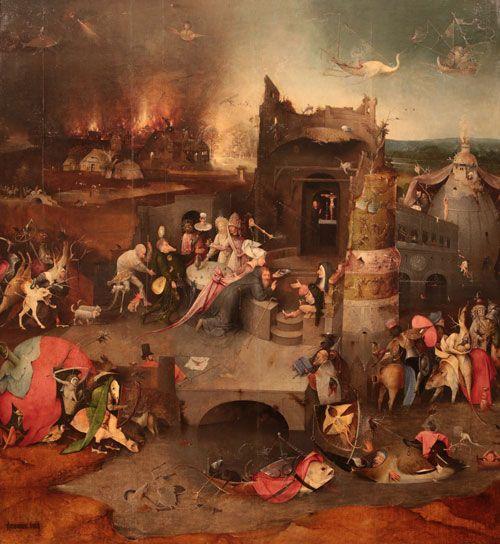 Paastonaika. Hieronymos Bosch, 1501, Pyhän Antonius Apotin kiusaukset, Museu Nacional de Arte Antigua, Lissabon, Portugali. Valokuva Marco Peretto.