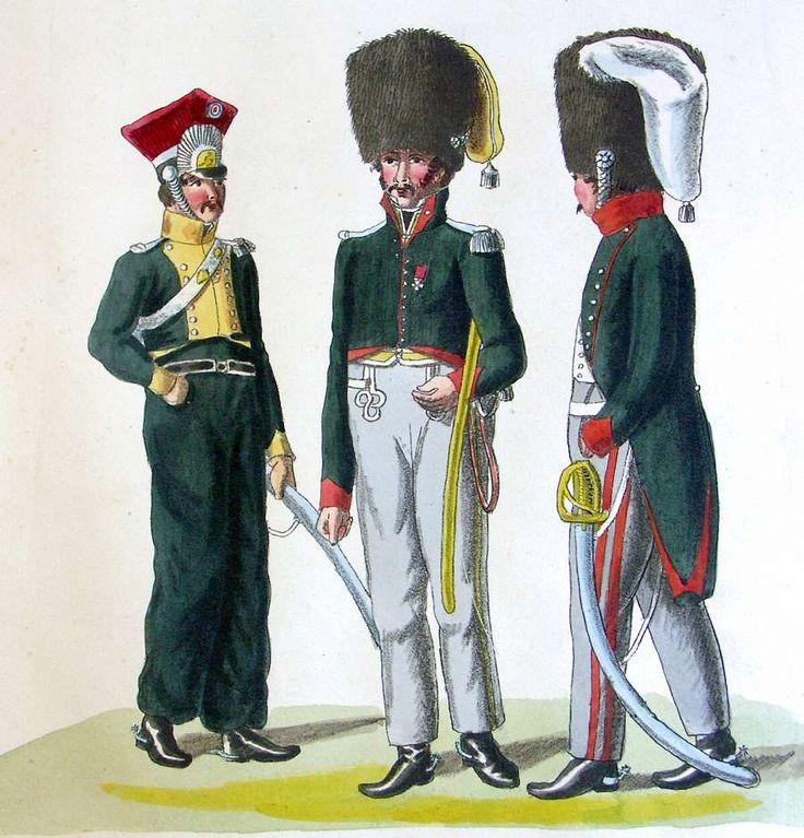 Französische Truppen - Offiziere der 23. und 24. Jäger zu Pferd. Offizier der 9. Chevaulegers (ca. 1811-1812)