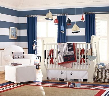 Cute sailor nurseryStripes Wall, Boys Nurseries, Baby Boys, Nautical Baby, Baby Room, Nautical Nurseries, Nautical Theme, Pottery Barn, Boys Room
