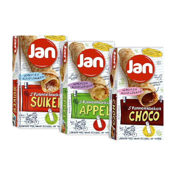 Nieuw van JAN: gevulde pannenkoeken met suiker, appel of chocopasta!
