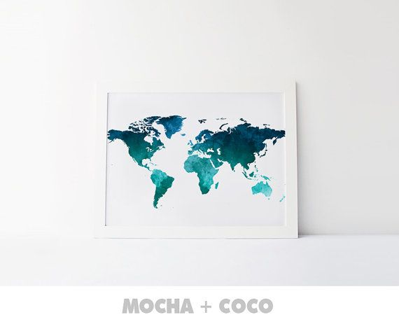 Watercolor World Map Poster | Travel Print, Office Decor, Travel Art, Kids Room, Nursery, Printable Mocha + Coco, INSTANT FILE DOWNLOAD