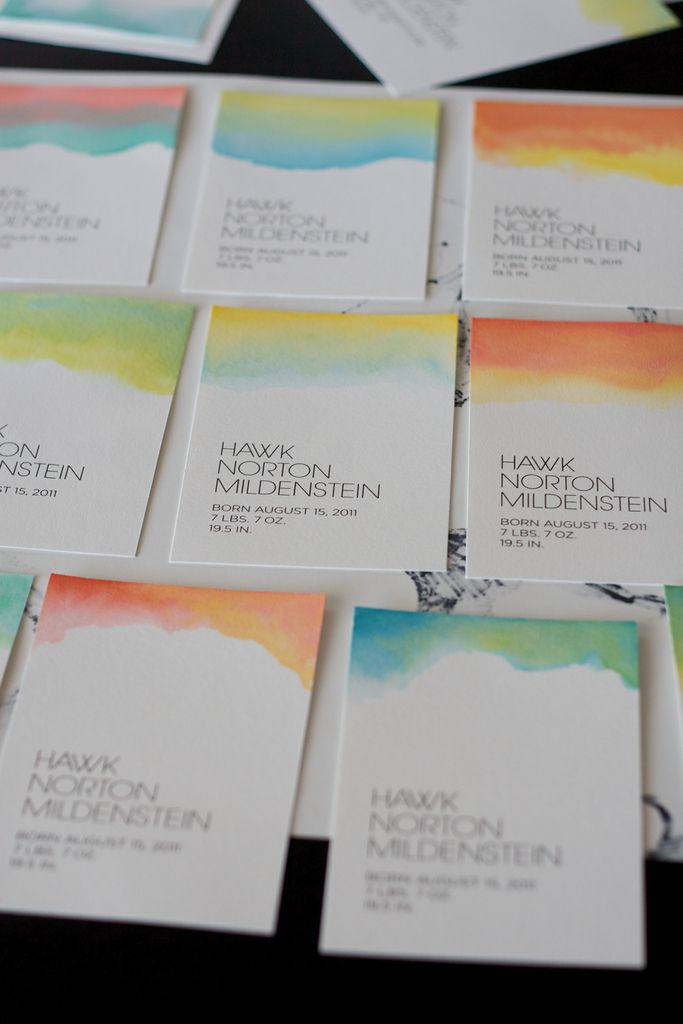 Watercolor Invitations - love the little bit of multi colored watercolor paint at the top only.