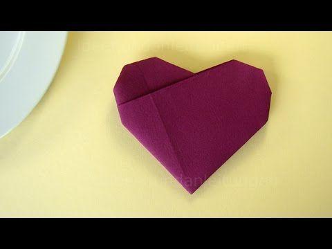 Best 20 servietten falten herz ideas on pinterest for Youtube hochzeitsdeko