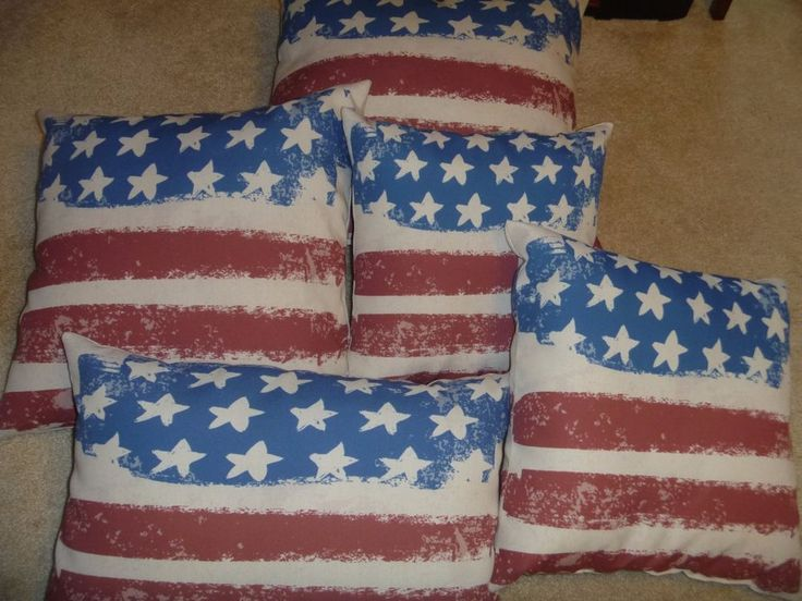 Gear New Vintage American Flag Throw Pillows Stars & Stripes Red Poplin Decorate #GearNew #VintageRetro