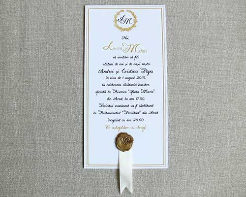 wax seal stamp wedding invitation with satin ribbon. Contact us to color customize any of our designs to your wedding colors. - Invitatie de nunta - Colectia Maia #wedding