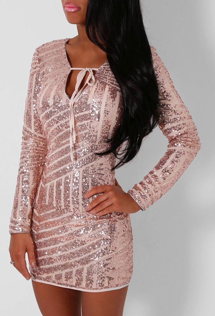 Cammy Rose Gold Sequin Long Sleeved Mini Dress | Long sleeve mini ...