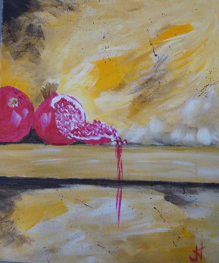 Pomegranates 1 Acrylic on cancas 10x12 in $200 each or $300 pair