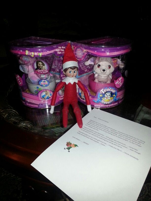 Snowy last night....surprised the girls with a small gift and a goodbye letter. ..