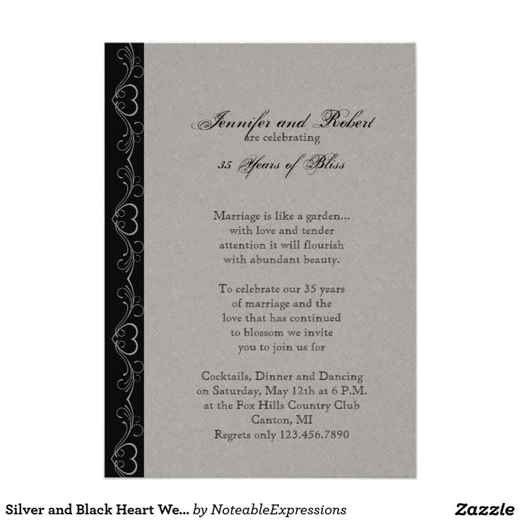 Silver and Black Heart Wedding Anniversary Card