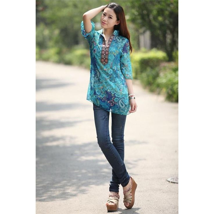 Zanzea Summer Chiffon Shirt Dress Blouse Plus Size Women Clothing Floral Print Half Sleeve Loose Long Top Casual