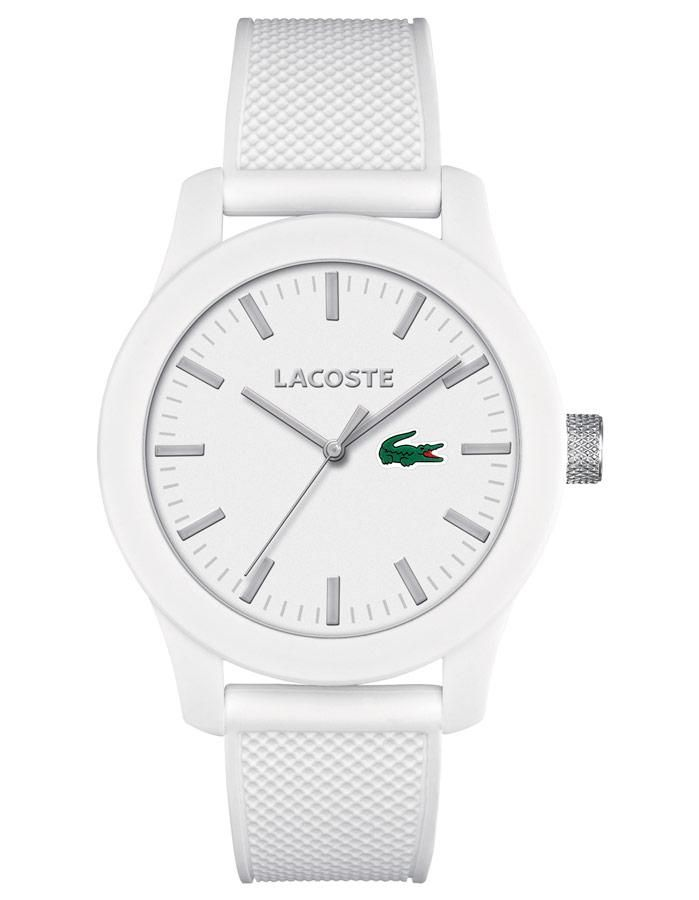 This simple, all-white watch resembles the design of the classic Lacoste polo shirt, featuring the iconic crocodile on the dial as the only color. White ABS pol