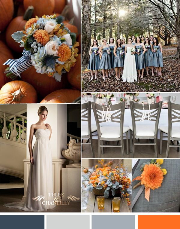 Pin By Erin Leach On Weddings And Such October Wedding Colors Wedding Colors Orange Grey Wedding