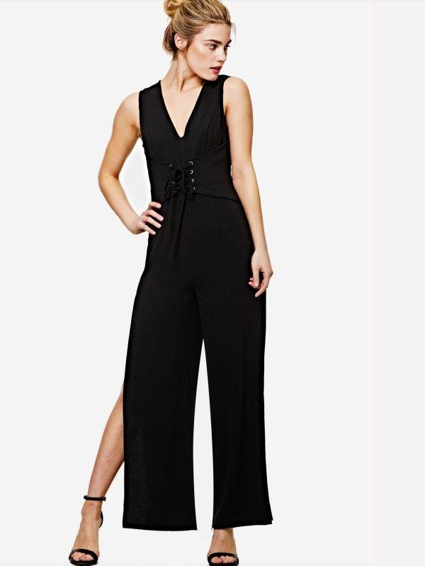 Shop Lace Up Front Slit Leg Jumpsuit online. SheIn offers Lace Up Front Slit Leg Jumpsuit & more to fit your fashionable needs.