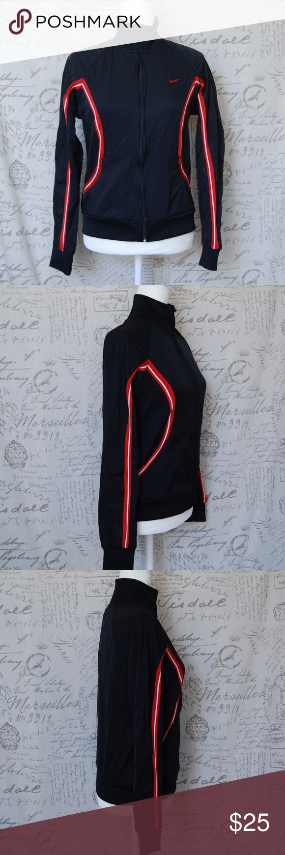 """Nike Black Red white Striped Zip Up Jacket M Nike Women's Black with Red and white Striped Zip Up Track Jacket  Medium 8-10 NOTE: front zipper part isn't covered but kind of bulges out (see last photo) not a big deal, but not smooth.  Measurements are taken with garment laying flat. Length: 22"""" Armpit to armpit: 18"""" Sleeves: 28"""" measured from collar hem Nike Jackets & Coats"""