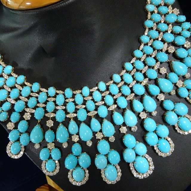 Beautiful #natural #turquoise and #diamond necklac…
