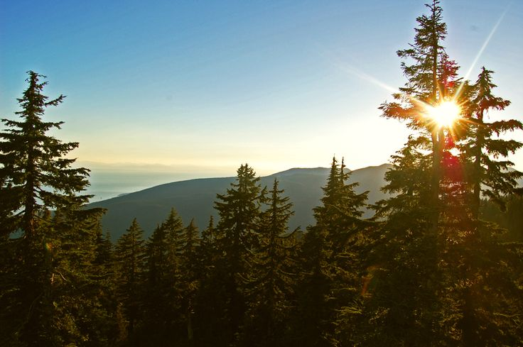 Up in a gondola on Grouse Mountain at sunset   Vancouver, British Columbia