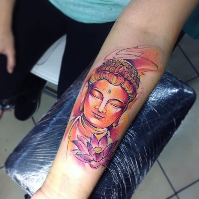 Bud AB #tattoo #tatuaje #watercolor #budha #buddha #aquarelle #orange