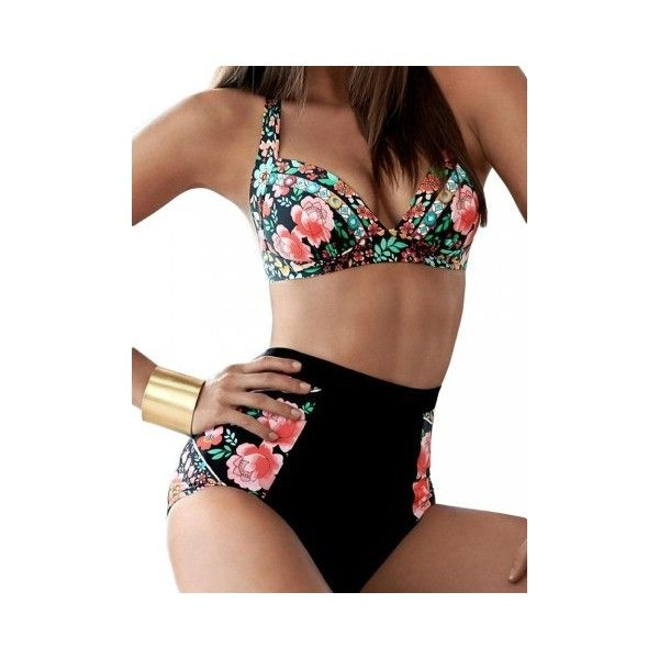 Plus Size Women Sexy Floral Printing Bikini High Waist Bikini Sets... ($12) ❤ liked on Polyvore featuring swimwear, bikinis, white, plus size bathing suits, plus size underwire swimsuits, swimsuits bikinis, high-waisted bikini and high waisted swimsuit