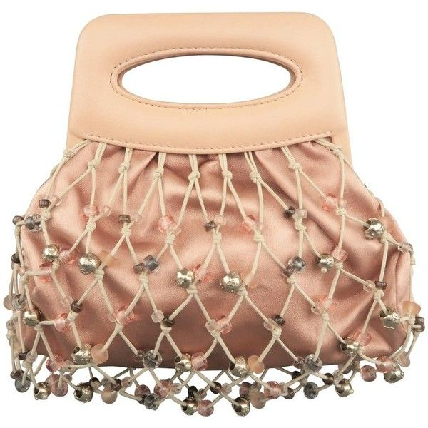 Preowned Chanel Salmon Pink Silk & Leather Beaded Mesh Mini Handbag (€1.735) ❤ liked on Polyvore featuring bags, handbags, pink, top handle bags, leather purses, handbag purse, mini purse, hand bags and man pouch bag