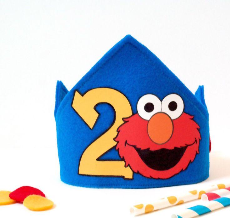 Elmo felt birthday crown WITH NUMBER, birthday hat, elmo costume, First birthday party