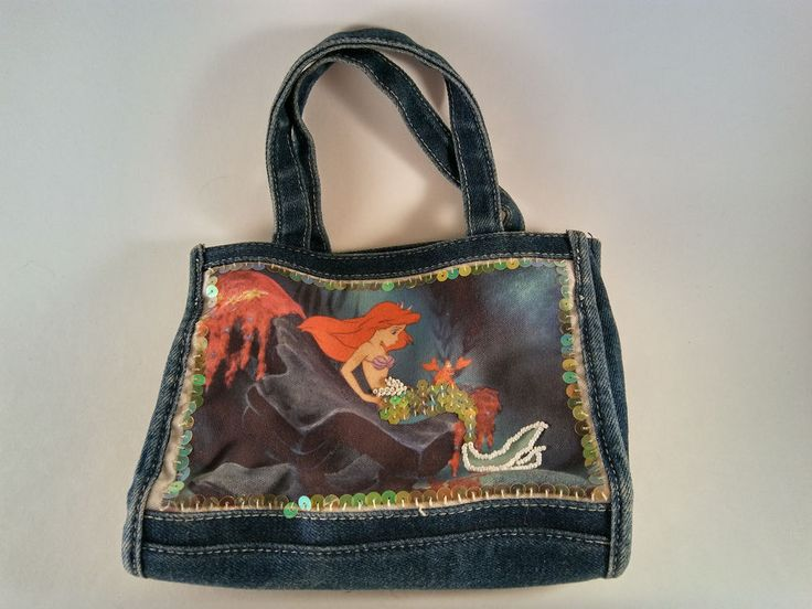Disney Ariel Little Mermaid Canvas Sequins Beads Denim Tote Purse -FREE SHIPPING