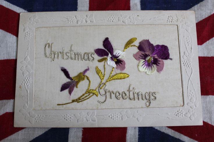 WW1 Silk Postcard 'Christmas Greetings', £6.00