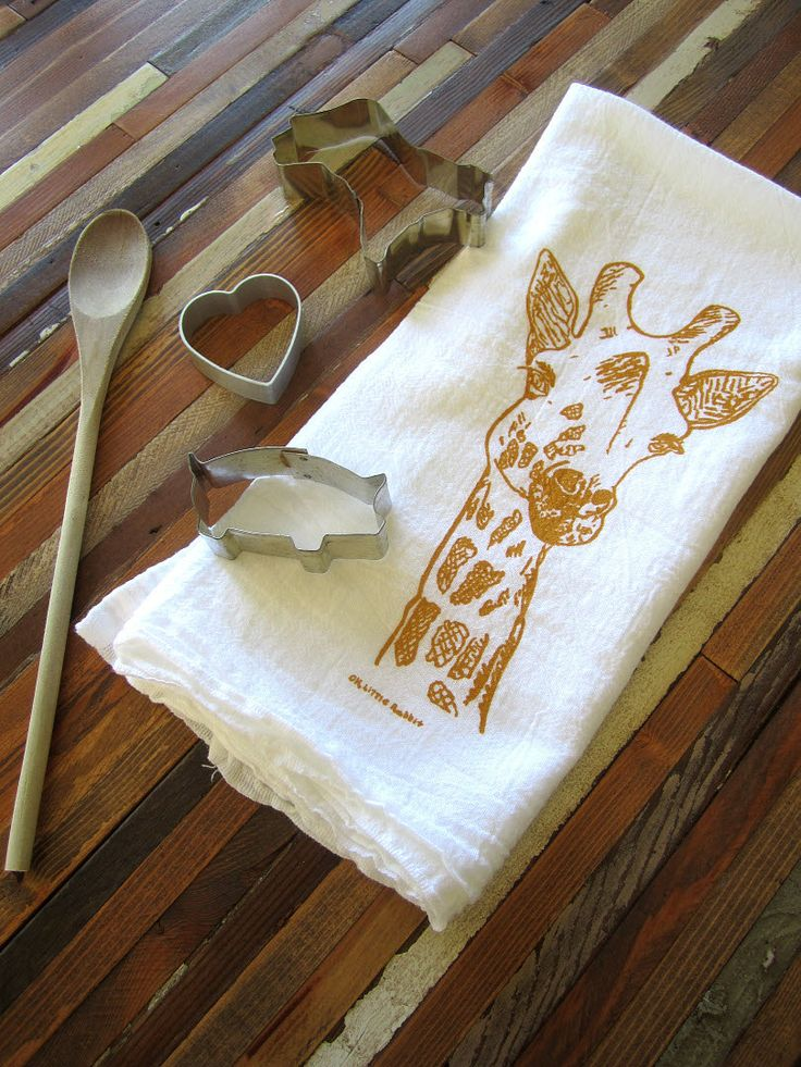 Tea Towel   Screen Printed Organic Cotton Flour Sack Towel   Eco Friendly  And Awesome Dish Towel   Giraffe Illustration
