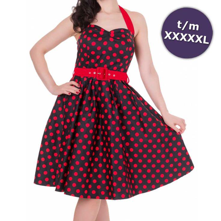 Sophie swing jurk met halternek, polkadot stippen print en rode riem zwart/rood – Vintage 50's Rockabilly retr
