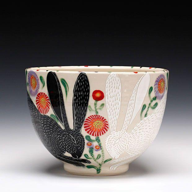 Schaller Gallery : Artist : Sue Tirrell : Love Bunnies Serving Bowl
