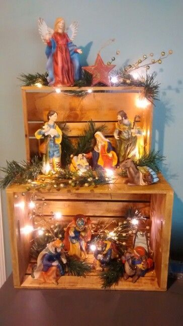 Pinned it, did it! - Nativity with wooden crates.
