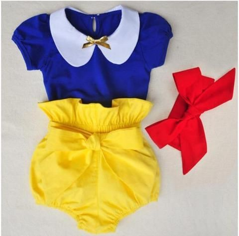 This adorable three piece snow white set comes with shirt in blue, yellow bloomer style shorts with a bow, and a red head band. This is perfect for your little one's Disney vacation, birthday party, o
