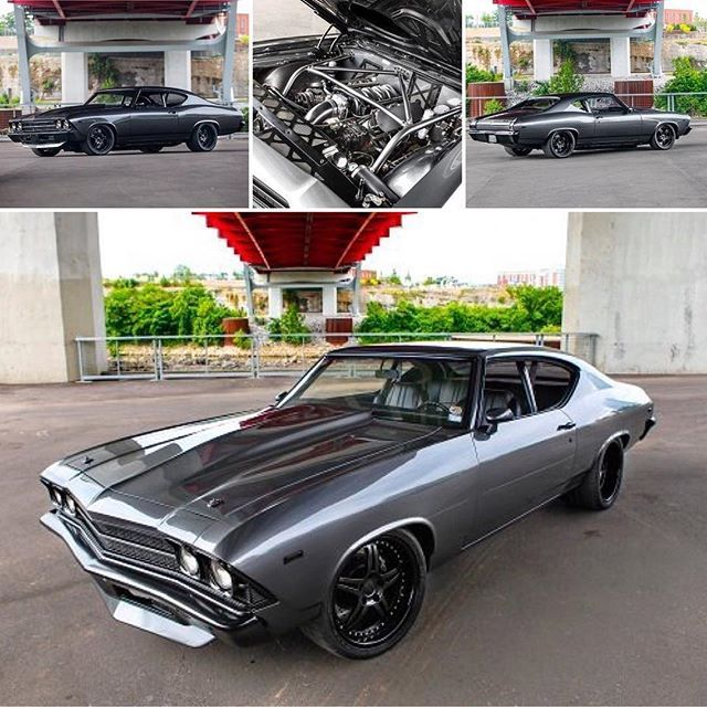 69 chevelle grey and black pro touring. split 5 star wheels lsx. spoiler painted bumpers