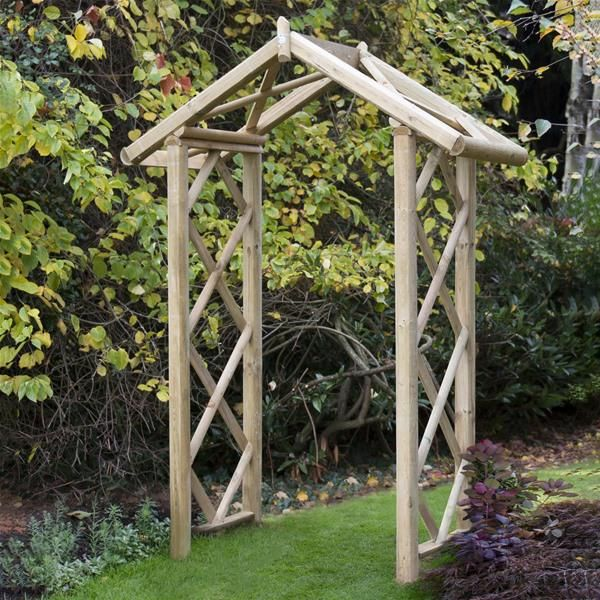 Forest Garden Wooden Forest Rose Arch With Images Garden Arch