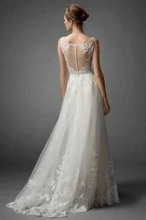 Light and airy, soft A-line gown, featuring Beaded Leaf Embroidery on Illusion…