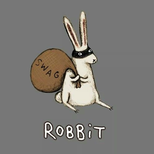 Robbit by Sophie Corrigan funky easter card or tshirt cartoon  design to make for teens , young arty friends