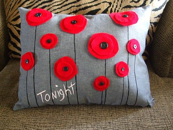 TONIGHT / NOT TONIGHT Red Poppy recycled felt pillow