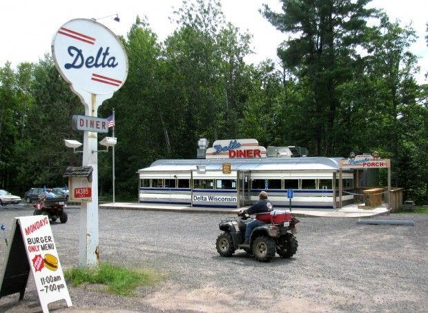 Delta Diner is located in the heart of the Chequamegon-Nicolet National Forest. An old train car from New York converted into a diner